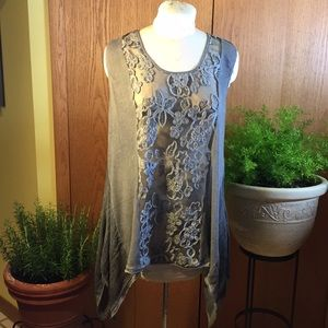 Simply Couture asymmetrical grey tunic size XL